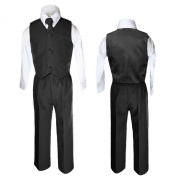 Unotux 4 Piece Formal Boys Black Vest Necktie Sets Suits From 0 Month to 7 Years (XL: