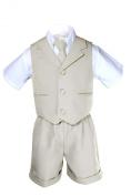 Unotux Infant Baby Boys Formal Wedding Light Khaki Necktie Vest Suits Sets S-XL (S: