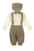 Vintage Dress Suit-Bowtie,Suspenders,Knickers Outfit Set-Boys Brown Plaid
