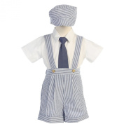 Lito Blue Stripe Seersucker Suspender Shorts Outfit Boys 12M-4T