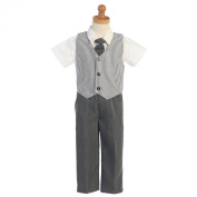 Lito Charcoal Seersucker Vest Pant Suit Set Boys 12M-4T