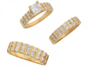 14k Yellow Gold White CZ Brilliant His and Hers Wedding Ring Trio Set