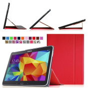 Fintie for  for  for Samsung   Galaxy Tab 4 10.1 (25cm ) Smart Book Cover Case - Ultra Slim Light Weight Stand Supports Three Viewing Angles (with Auto Sleep/Wake Feature ), Red