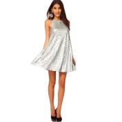 Piggy2gether- Sexy Silver Bling Sleeveless Party Dress Evening Dress, XL