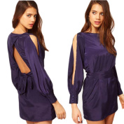 Piggy2gether- Sexy Backless Noble Blue Long Sleeve Satin Dress Party Dress, M