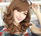 Hi Girl New Fashion Medium Long Brown Wavy Curly Womens Oblique Bangs Hair Full Wigs Wig Cosplay Party