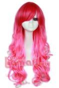 L-email 60cm Long Harajuku Red Blend Pink Wavy Cosplay Wig Zy97