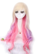 L-email NEW Mar.70cm Long Zipper Multi-colour Curly Cosplay Wig Zy04
