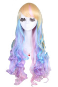 70cm/27.55inch Harajuku Rainbow Bright Colourful Sexy Lady Cosplay Women Costumes Hair Wigs Ml183