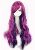 L-email 70cm Long Wavy Cosplay Wig Mix Colour Zy08