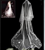 Qishi's Long Korean Flower Love Edge Bride Veil