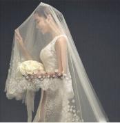 Qishi's Long Korean Flower Lace Edge Bride Veil