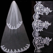 Qishi's 2 Layer High-grade Delicate Lace Edge Wedding Veil