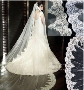 Qishi's 3m Long 1 Layer High-grade Delicate Lace Edge Wedding Veil