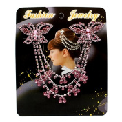 Fashion Hair Accessories Pink Double Butterfly Crystal Rhienstone Hair Comb Party Accessories