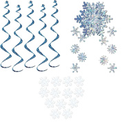 Snowflake Party Decorations - White Tissue Snowflakes (pkg of 25), 5 Snowflake Twirly Whirlys, and a Silver Snowflake Mobile!