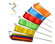 Eforcase Pack of 6 Length 4M Rhythmic Gymnastics Ribbon Ballet Streamer Twirling Rod Pack of 6 Different Colours
