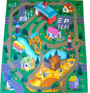 train station felt play mat with train tracks and road design by silli me shop online for toys. Black Bedroom Furniture Sets. Home Design Ideas