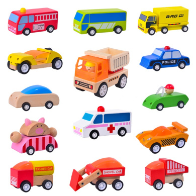 -up Vehicles Mini Car Truck Dumper Police Car Bus Wind Up Toy Wooden ...
