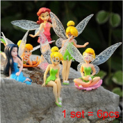 6pcs/set Cute Remastered Version Pvc Tinkerbell Fairy Toy Cartoon Dolls Tinker Bell Figures Princess Doll For Kids