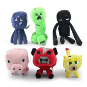Sale 6pcs/lot Minecraft Dolls Minecraft Mc Plush Toys,enderman Creeper Bull Pig Squid And Leopard Cat Stuffed Toys.baby Toys