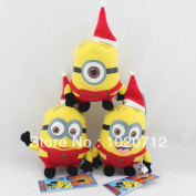 Best Xmas Gift 3pcs Despicable Me Christmas Minion Plush Toy Red Hat Stuffed Animal Cute Gift