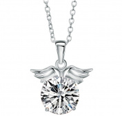 Libaraba(TM) 925 Sterling Silver Plated Angel Wing with Round Cut Crystal Pendant Necklace