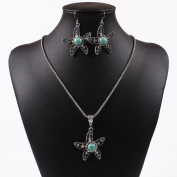 Tibet Silver Turquoise Blue Crystal Sea Fish Starfish Pendant Necklace Earrings