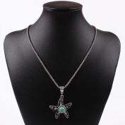 Tibet Silver Turquoise Blue Bead Sea Fish Sea Star Pendant Chain Necklace
