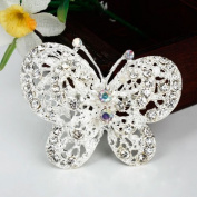 distintive & stylish BUYINHOUSE Silver Plated Flashing Rhinestones Crystals Cute Butterfly Brooches Pin Clips