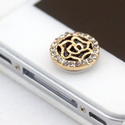 Buyinhouse Bling Crystal Golden Black Plated Flower Home Button Return Key Sticker Decal for iPhone iPod iPad or Some Other Kind Smart Phone