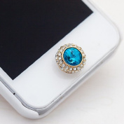 Buyinhouse Bling Clear Crystal Blue Gem Home Button Return Key Sticker Decal for iPhone iPod iPad or Some Other Kind Smart Phone