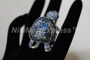 Vintage Silver Large Stretch Rhinestone Turtle Cocktail Ring