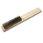 KENT 23cm Brass Crimped Wire Hand Brush with Wood Handle For Jewellery Cleaning Polishing