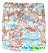 Seashells Beach Blue White Cloth Nappies Disposable Nappies Cute Alphabet Colourful Print One Size