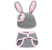 FuzzyGreen® Pretty Unisex Bunny Rabbit Design Crochet Knitted Baby Outfits