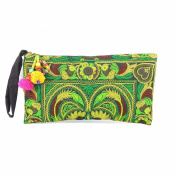 Changnoi Lime Bird Embroidered Hmong Bag Hill Tribe Clutch Bag Thai Handbag Fair Trade