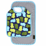 Bella Tunno Bib and Burpie Set, Macho Hippo/Honeycomb Navy Dot