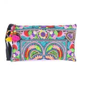Changnoi Colourful Bird Embroidered Hmong Bag Hill Tribe Clutch Bag Thai Handbag Fair Trade