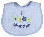 Raindrops I Love Grandpa Embroidered Bib, Blue