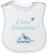 Raindrops I Love Grandma Embroidered Bib, Blue/White