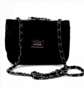HDE Quilted Leather Crossbody Handbag Purse with Metal Chain Strap