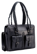 Black Genuine Italian Leather Women's Shoulder Bag with Braided Handles.