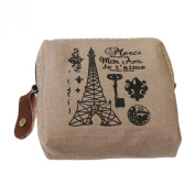 Classic Retro Canvas Tower Purse Wallet Card Key Coin Bag Pouch Case