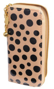 Luciano Caruso Women's Designer Fashion Wallet. Fine Vegan Leather with Sylish Polka Dot Design. Zipper Closure. Many Compartments for CCs, Banknotes, Coins.