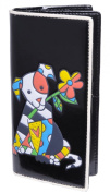 Luciano Caruso Women's Designer Fashion Wallet. Fine Vegan Leather with Animal Motif Inlay. Zipper and Magnetic Snap Closures. Many Compartments for CCs, Banknotes, Coins.