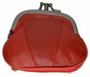 Genuine Leather Small Change Purse with Clasp Closure