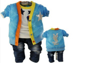 SOPO Baby Boy 3 Piece Outfits (Star Jacket, T Shirt, Pants) Blue 2t