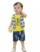 SOPO Baby Boy 2 Piece Outfit Summer (Fake Strip Vest Top , Jeans) Yellow 24m