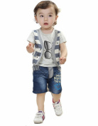 SOPO Baby Boy 2 Piece Outfit Summer (Fake Strip Vest Top , Jeans) Grey 18m